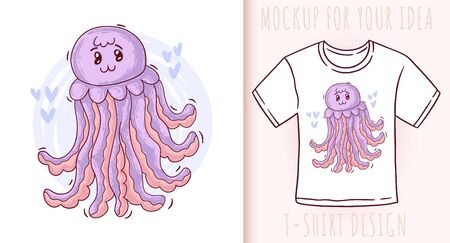 Cartoon cute baby jellyfish. Vector illustration on white background. Great design for your product. Ilustrace