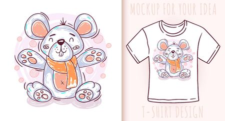 Cartoon cute baby mouse. Vector illustration on white background. Great design for your product. Ilustrace