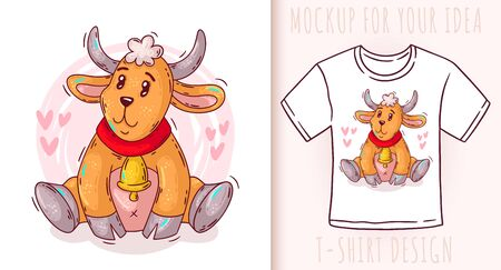 Cartoon cute baby goat. Vector illustration on white background. Great design for your product.