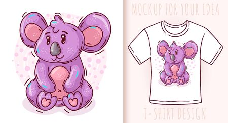 Cartoon cute baby koala. Vector illustration on white background. Great design for your product.