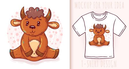 Cartoon cute baby bison. Vector illustration on white background. Great design for your product.