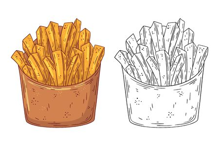 Hand drawn doodle fast food French Fries. Vector illustration isolated on white background. Design element for your product. Ilustrace