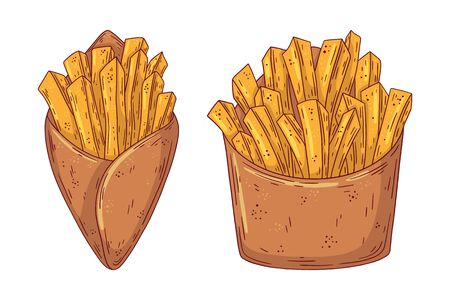 Hand drawn doodle fast food French Fries. Vector illustration isolated on white background.
