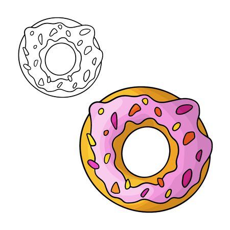 Cartoon doodle donuts. Design element. Vector illustration isolated on a white background.