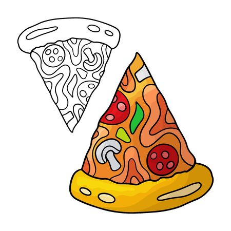 Cartoon doodle pizza. Design element. Vector illustration isolated on a white background. Illustration