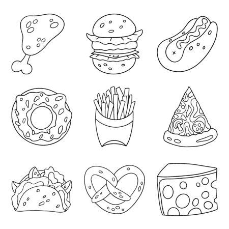 Kreskówka zbiory zestaw fast food. Element projektu. Ilustracja wektorowa na białym tle.