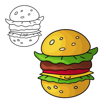 Cartoon doodle hamburger. Design element. Vector illustration isolated on a white background.