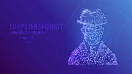 Cyber thief. Anonymous hacker. geometric lines, low poly style wireframe vector banner template. Isolated medicine science technology concept blue background.