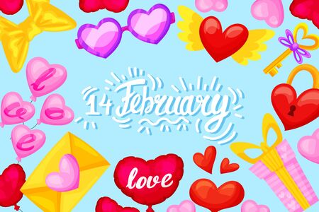Valentines day banner template. Romantic composition. Vector illustration for your design.