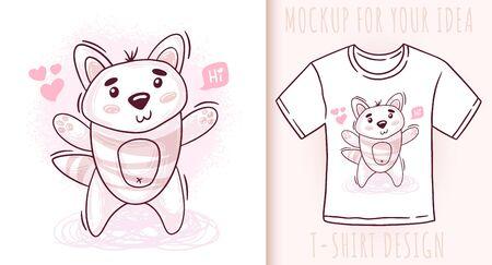 Cartoon cute baby cat. Vector illustration on white background. Ilustrace