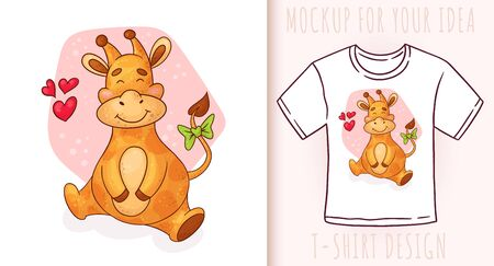 Cartoon cute baby lion. Vector illustration on white background. Great design for your product.