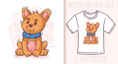 Cartoon cute baby puppy. Vector illustration on white background.