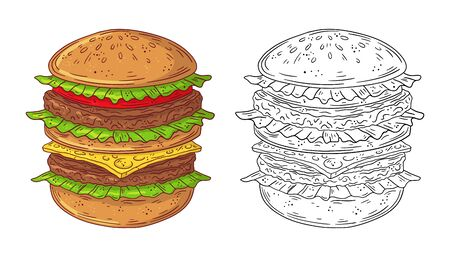 Hand drawn doodle fast food Burger. Vector illustration isolated on white background. Illustration
