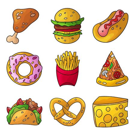 Cartoon doodle fast food set. Design element. Vector illustration isolated on a white background. Idea for your product.