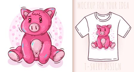 Cartoon cute baby pig. Vector illustration on white background. Great design for your product. Illustration