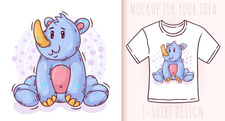 Cartoon cute baby rhino. Vector illustration on white background. Great design for your product.