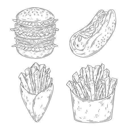 Hand drawn doodle fast food set. Burger, Hotdog, French Fries. Vector illustration isolated on white background.