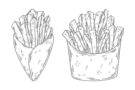 Hand drawn doodle fast food French Fries. Vector illustration isolated on white background. Design element for your product. Illustration