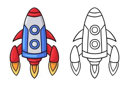 Doodle cartoon space rocket. Design element. Vector illustration isolated on a white background.