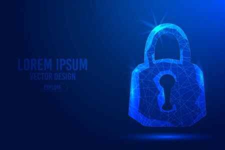 Padlock on a blue abstract background. Low poly wireframe digital banner. Linear and polygonal 3d concept of security, protection, cyber internet threat. Vector isolated illustration.