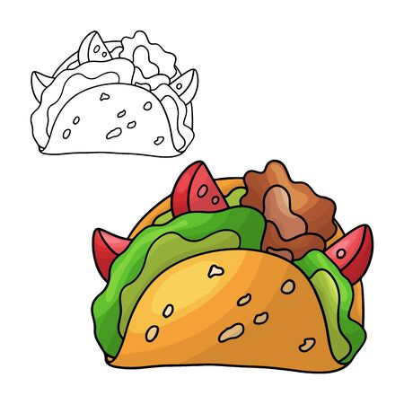 Cartoon doodle tacos. Design element. Vector illustration isolated on a white background.