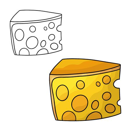 Cartoon doodle cheese. Design element. Vector illustration isolated on a white background.