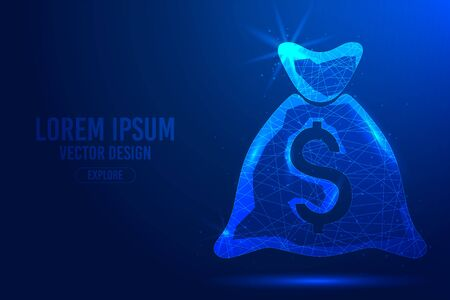 Bag for money on a blue abstract background. Low poly wireframe digital banner. Linear and polygonal 3d concept of bank.
