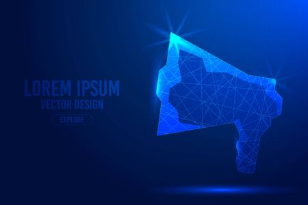 Loudspeaker or megaphone on a blue abstract background. Low poly wireframe digital banner. Linear and polygonal concept. Illustration