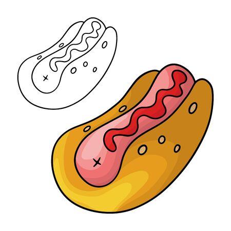 Cartoon doodle hot dog. Design element. Vector illustration isolated on a white background.