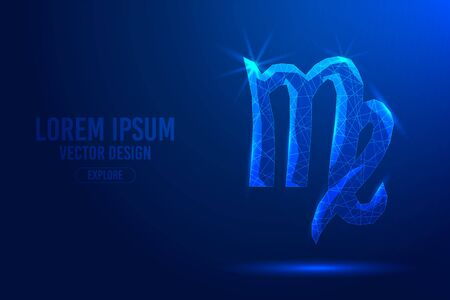 Virgo sixth zodiac sign abstract background. Low poly wireframe digital banner. Linear and polygonal 3D concept of horoscope, celestial constellation.