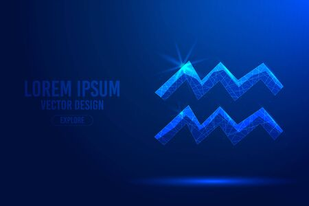 Aquarius eleventh zodiac sign abstract background. Low poly wireframe digital banner. Linear and polygonal 3D concept of horoscope, celestial constellation. Illustration