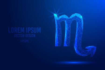 Scorpio is the eighth zodiac sign against abstract background. Low poly wireframe digital banner. Linear and polygonal 3D concept of horoscope, celestial constellation.
