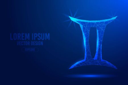 Gemini third zodiac sign abstract background. Low poly wireframe digital banner. Linear and polygonal 3D concept of horoscope, celestial constellation.