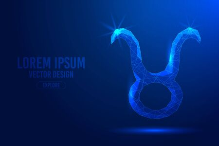 Taurus is the second zodiac sign against abstract background. Low poly wireframe digital banner. Linear and polygonal 3D concept of horoscope, celestial constellation.