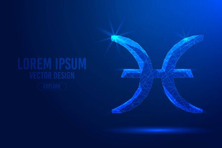 Pisces twelfth zodiac sign abstract background. Low poly wireframe digital banner. Linear and polygonal 3D concept of horoscope, celestial constellation. Illustration