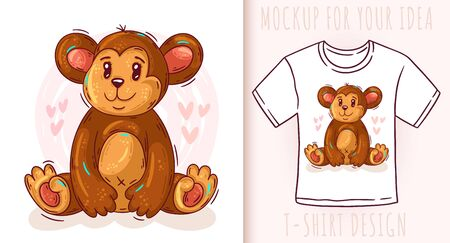 Cartoon cute baby monkey. Vector illustration on white background.