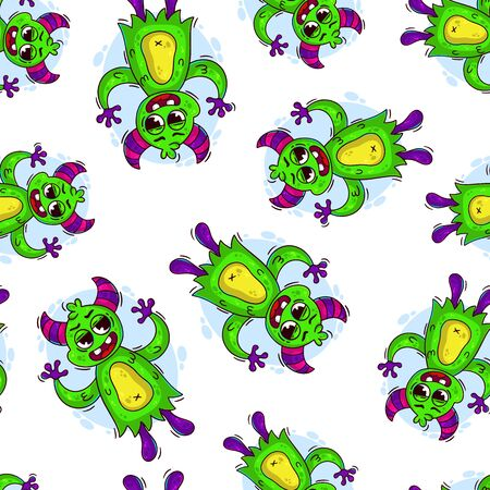 Cartoon cute monster pattern. Design element. Vector illustration isolated on a white background.