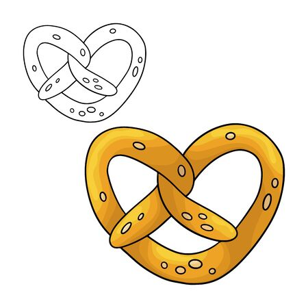 Cartoon doodle pretzel. Design element. Vector illustration isolated on a white background. Illustration