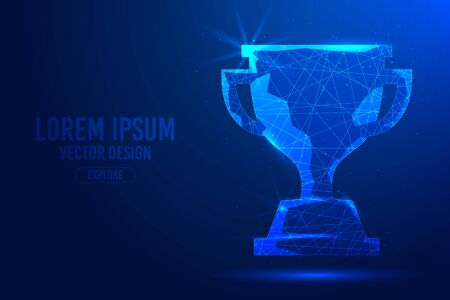 Winner trophy cup on a blue abstract background. Low poly wireframe digital banner. Linear and polygonal 3D concept.