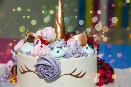beautiful cake in the form of a unicorn on the birthday