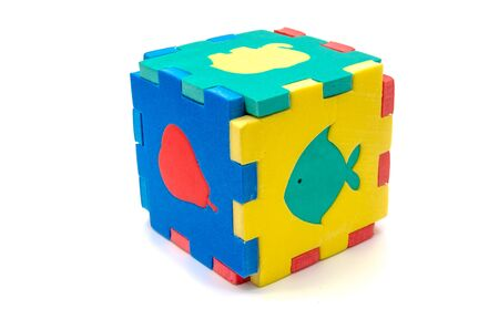 multicolored cube puzzle with animal figures