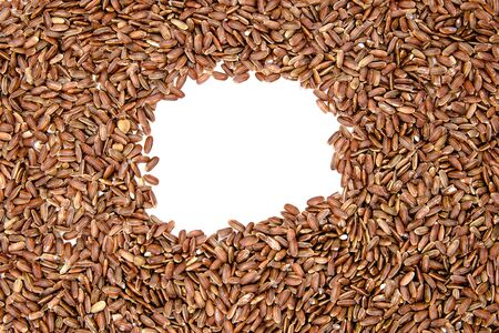 brown ruby rice on a white isolation background with copy space