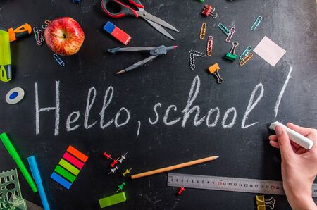 back to school on September 1 stationery on a black background with copy space