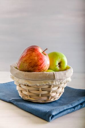 Concept no plastic fresh fruit in a basket with copy space on white background