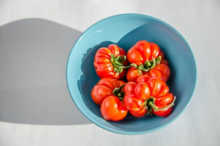 ugly tomatoes voyage in a blue plate on white background Фото со стока