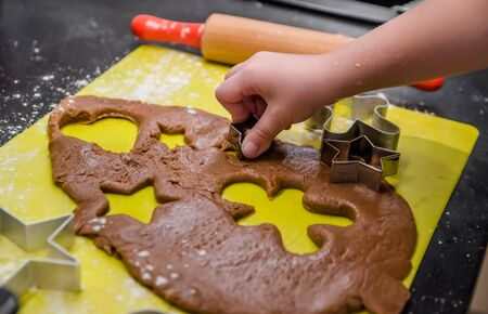 Little girl makes Christmas ginger cookies herself