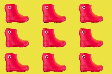 pattern red rubber boots on the toe background