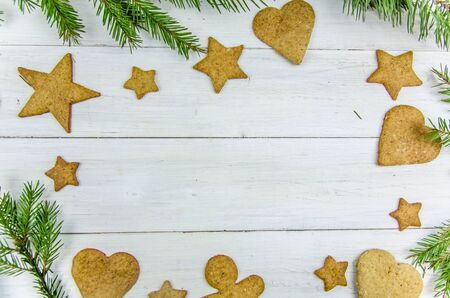 Christmas gingerbread on a white background Copy space