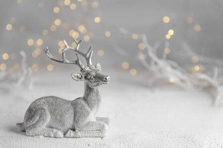 Christmas. New Years composition of silver deer. garland lights. fairy forest Stock fotó