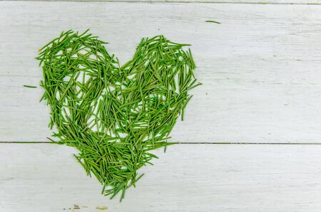 Winter. New year, christmas. spruce needles in the shape of a heart on a white background with copy space Stock fotó